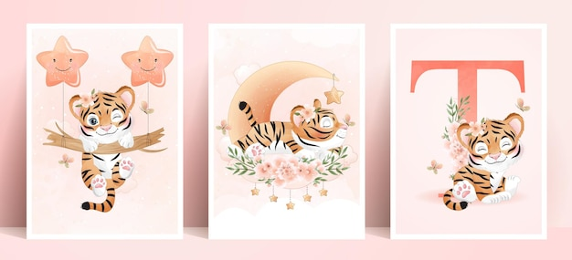Cute doodle tiger with watercolor illustration set