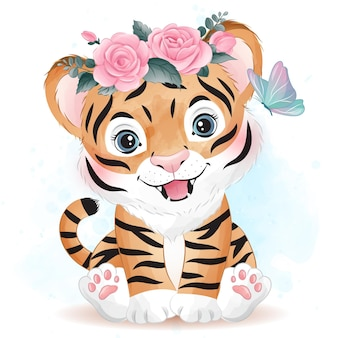 Cute doodle tiger with watercolor illustration