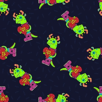 Cute doodle tribal seamless pattern with aliens.