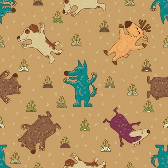 Cute doodle tribal seamless pattern with animals.