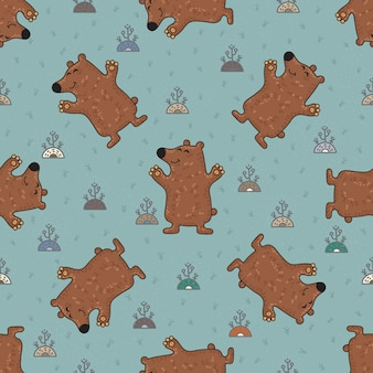 Cute doodle tribal seamless pattern with bears.