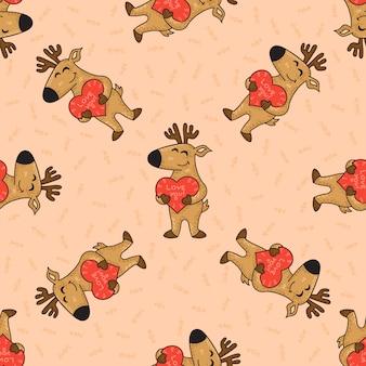 Cute doodle tribal seamless pattern with deers.