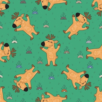 Cute doodle tribal seamless pattern with deers.