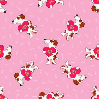 Cute doodle tribal seamless pattern with dogs.