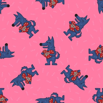Cute doodle tribal seamless pattern with wolfs.