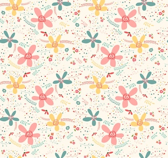 Cute doodle tropical flower pattern