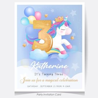 かわいい落書きユニコーンの誕生日パーティーの招待カードのイラスト