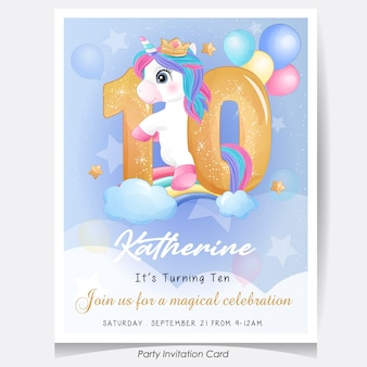 Cute doodle unicorn birthday party invitation card illustration