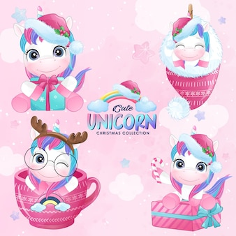 Cute doodle unicorn christmas set in watercolor style