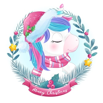 Cute doodle unicorn for christmas in watercolor style