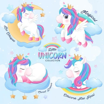 Cute doodle unicorn set in watercolor style