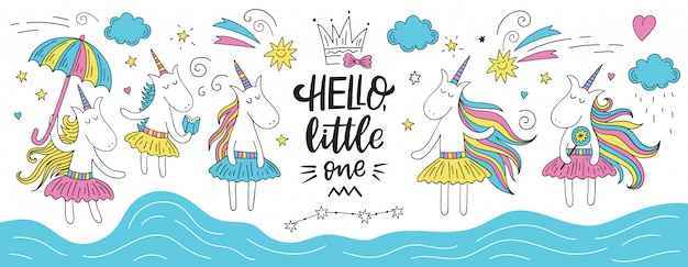 Cute doodle unicorn set with hello little one lettering