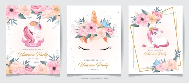 Cute doodle unicorn with flower invitation card collection