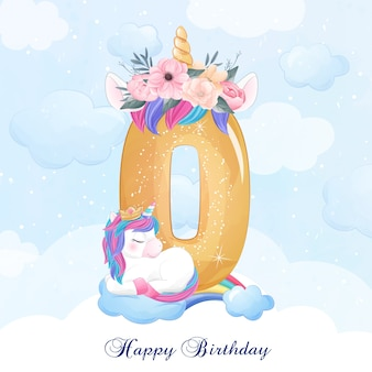 Cute doodle unicorn with numbering illustration