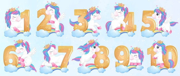 Cute doodle unicorn with numbering set illustration