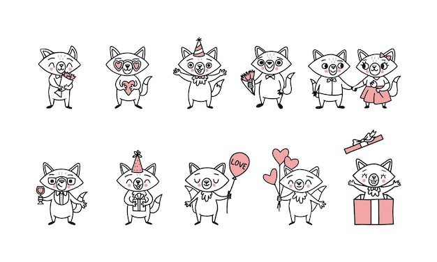 Cute doodle vector foxes,  big set of funny characters with heart balloons, gift boxes, a bouquet