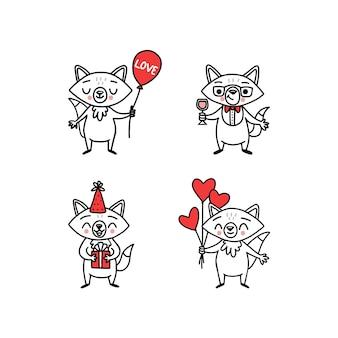 휴일 및 파티 스티커에 대 한 귀여운 낙서 벡터 여우 재미 있은 동물 만화 캐릭터