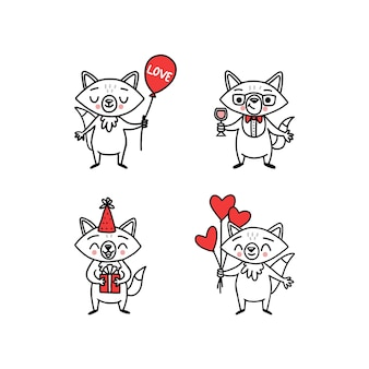 Cute doodle vector foxes for holidays and party stickers funny animals cartoon character