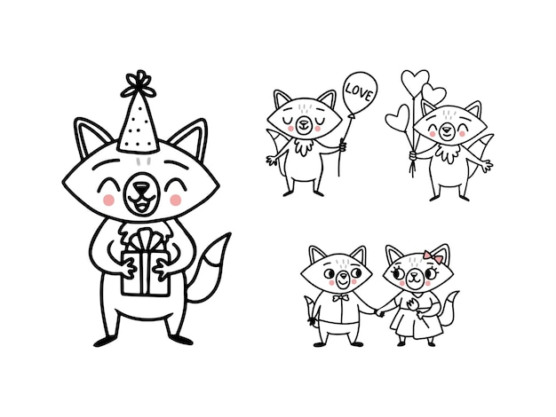 Cute doodle vector foxes with heart balloons, a gift box, a bouquet and a couple in love
