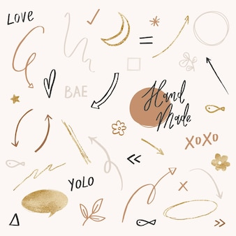 Cute doodle vector set in black and gold tone