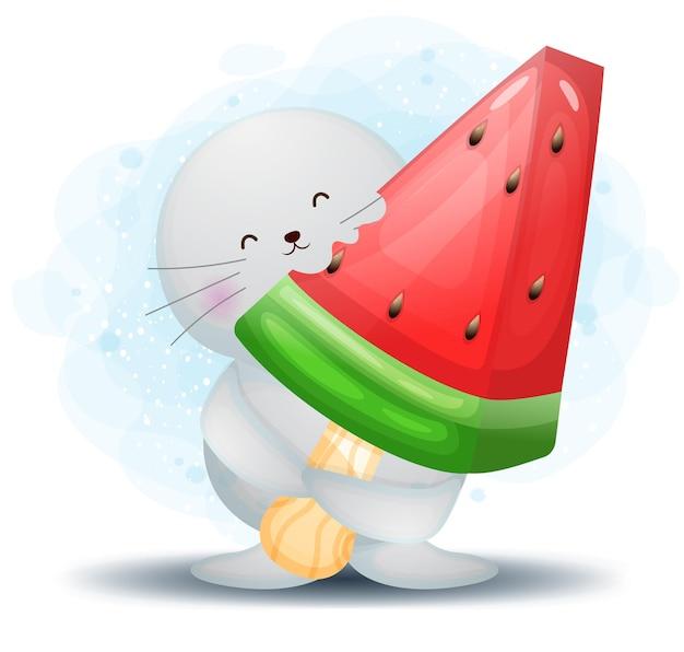 大きなスイカのアイスクリームの漫画のキャラクターを保持しているかわいい落書きセイウチ