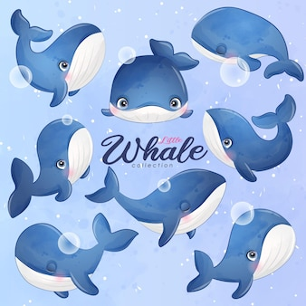 La balena sveglia di scarabocchio posa nell'insieme dell'illustrazione di stile dell'acquerello