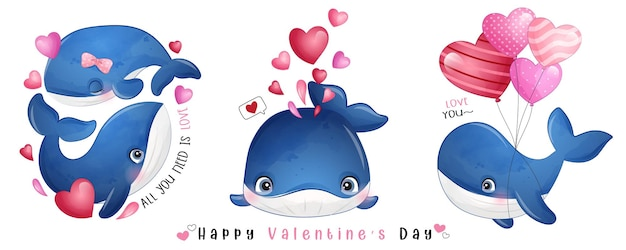 Cute doodle whale for valentines day collection