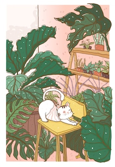 Cute doodle white fluffy cat in middle of tropical leaves trees forest in room, idea for wall art print, nursery, kid, children stuff print, greeting cart