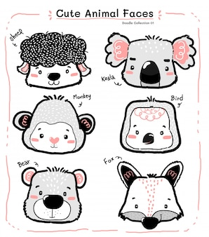 Cute doodle wild animal face set, nursery kid outline drawing
