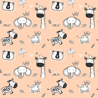 Cute doodle wild animal pattern seamless