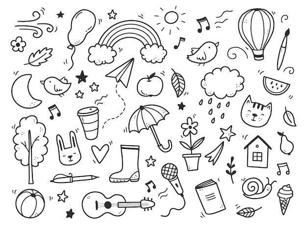 구름, 무지개, 태양, 동물 요소가 있는 귀여운 낙서. 손으로 그린 라인 어린이 스타일. 낙서 배경 벡터 일러스트 레이 션.