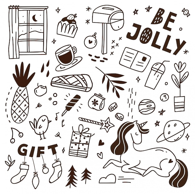 Cute doodle with mix of various objects