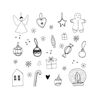 Милый каракули рождественский набор с игрушками-ангелочками, шариками, леденцами, пряниками, конфетами, подарочной коробкой и снежинками