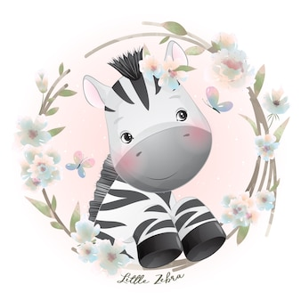 Cute doodle zebra with floral illustration