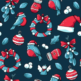 Cute doodles christmas seamless pattern