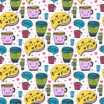 Cute doodles tea and coffee pattern. doodle smiley cups seamless background. vector cute pattern