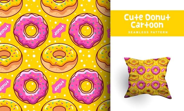 귀여운 도넛 만화 완벽 한 패턴