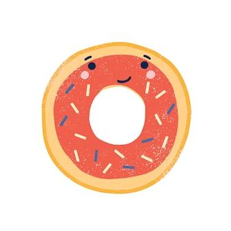 Симпатичные пончик плоские векторные иллюстрации. очаровательны улыбающийся пончик мультипликационный персонаж. вкусная выпечка, сладкий десерт с лицом. забавный глазированный пончик с брызгами, изолированные на белом фоне.