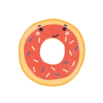Cute doughnut flat vector illustration. adorable smiling donut cartoon character. delicious pastry, sweet dessert with face. funny glazed donut with sprinkles isolated on white background.