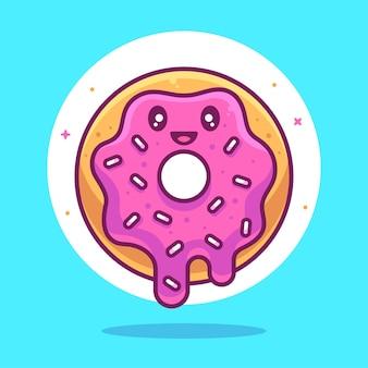 Cute doughnut illustration food or dessert logo vector icon illustration in flat style