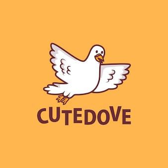 Cute dove cartoon logo  icon illustration