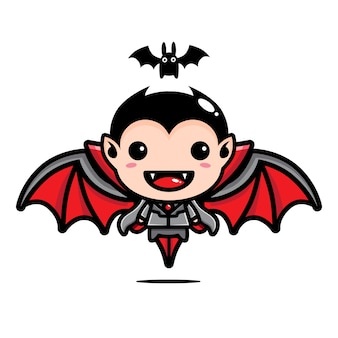 Cute dracula and bat designs isolated on white