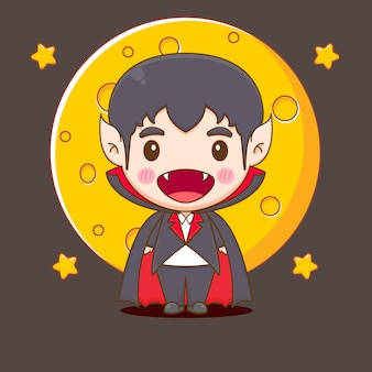 Cute dracula chibi character illustration