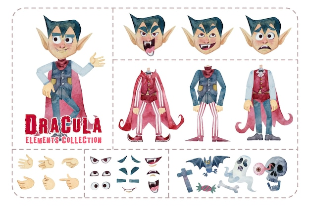 Cute dracula elements, dresses and expression, isolated halloween collection watercolor painting.
