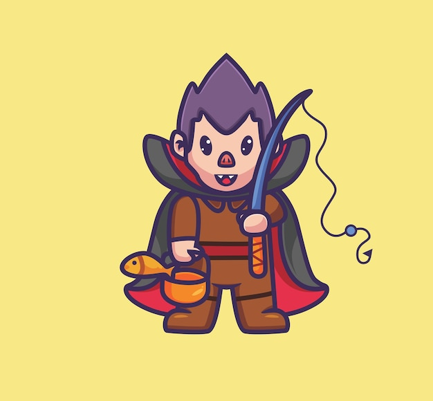 귀여운 드라큘라 낚시. 격리 된 만화 할로윈 그림입니다. 스티커 아이콘 디자인 프리미엄 로고 벡터에 적합한 플랫 스타일. 마스코트 캐릭터
