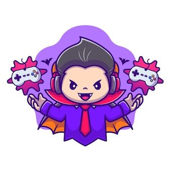 Cute dracula gaming cartoon vector icon illustration. halloween gaming icon