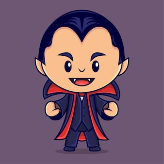 Cute dracula halloween mascot costume character vector illustration flat cartoon style