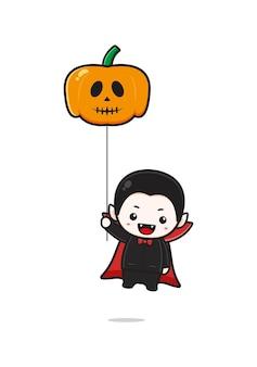 Cute dracula holding pumpkin balloon cartoon icon illustration. design isolated flat cartoon style