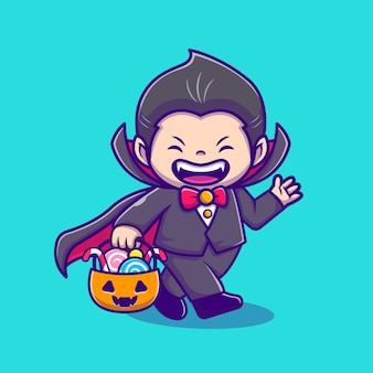 Cute dracula holding pumpkin basket with candy cartoon icon illustration. people holiday icon concept isolated  . flat cartoon style