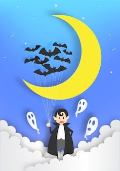 Cute dracula paper art style with sky in the night for halloween background vector illustr